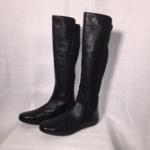 Johnston & Murphy Black Leather Flat to Knee Boots